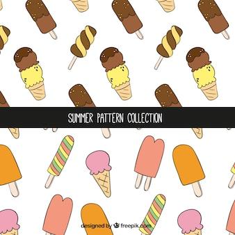 Grandi modelli estivi con varietà di gelati