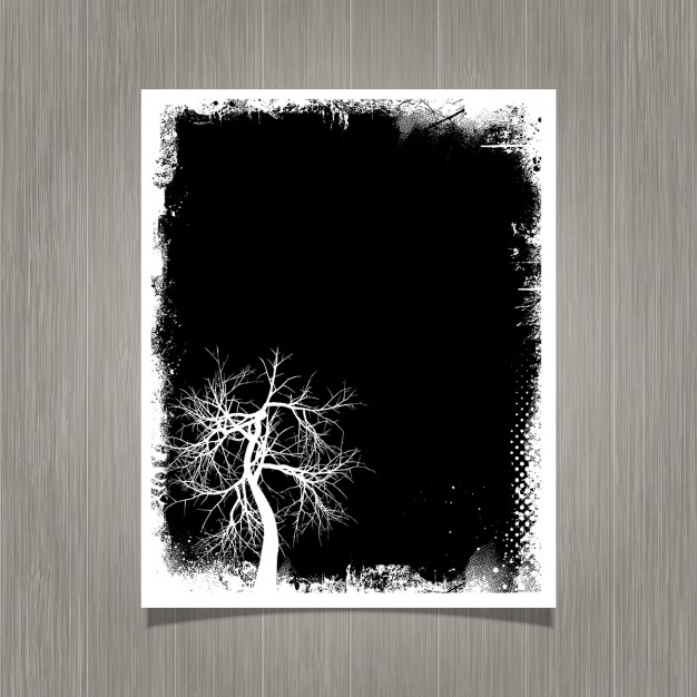 Grunge background con albero silhouette