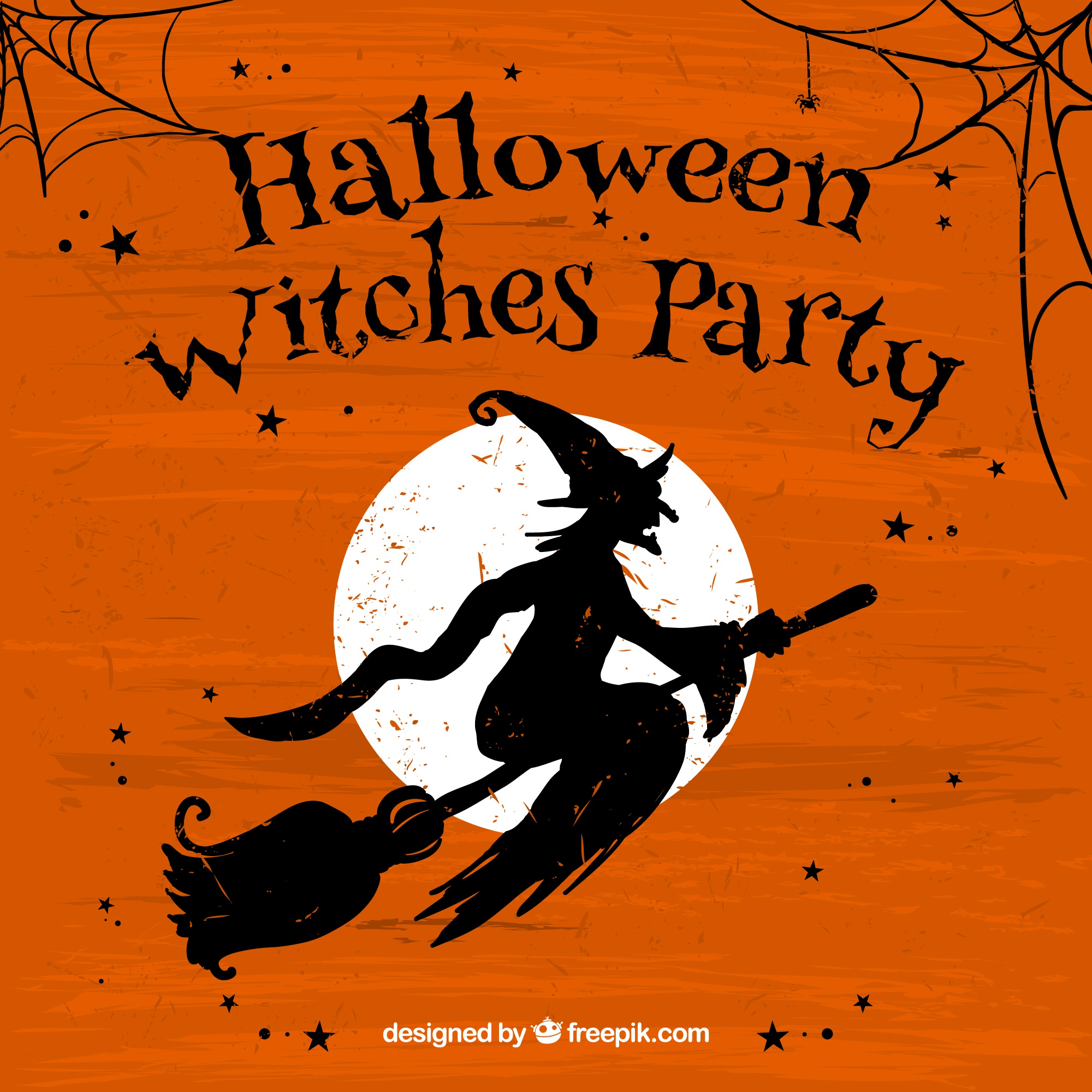 Grunge halloween withches party poster
