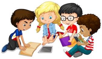 Gruppo di bambini che fanno illustrazione di lavoro