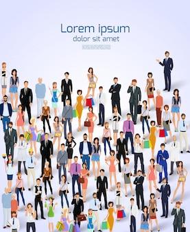 Gruppo di persone professionisti adulti illustrazione vettoriale poster.