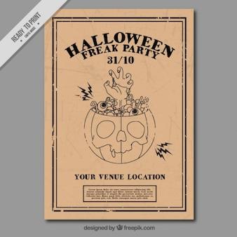 Halloween opuscolo partito retro del disegno di zucca