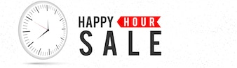 Happy Hour Sale, disegno di bandiera web.
