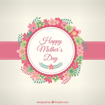 Happy Mothers day card con i fiori