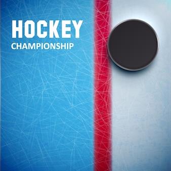Hockey puck isolato su ghiaccio vista dall'alto
