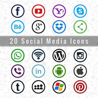 I social media set di icone