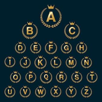 Icona del logo della corona di Laurel con lettere di alfabeto di capitale. Elementi del modello di disegno di carattere dorato - Lettera da A a Z.