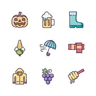 Icone d'autunno e oggetti in stile di contorno colorato
