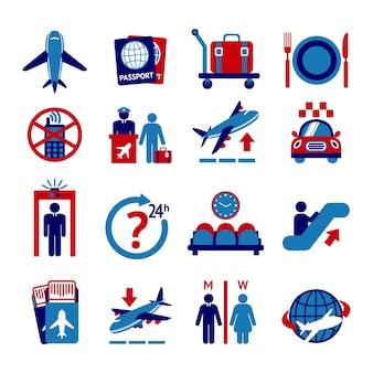 Icone del pulsante di viaggio all'aeroporto impostato con controllo aereo controllo bagaglio isolato illustrazione vettoriale