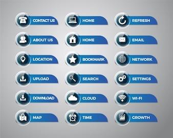 Icone delle applicazioni mobili e raccolta di etichette