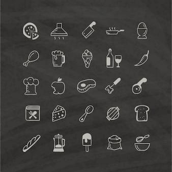 Icone di cibo bianco su sfondo nero