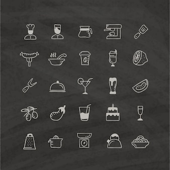 Icone di cibo su sfondo nero