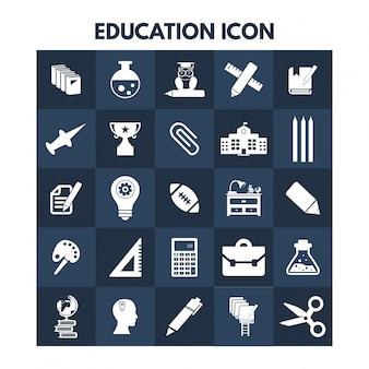 Icone di istruzione su scatole blu