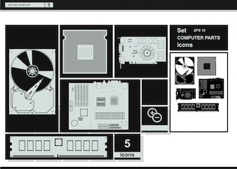 Icone di raccolta vettoriale. Icone hardware del computer.