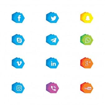Icone di rete sociale poligonale