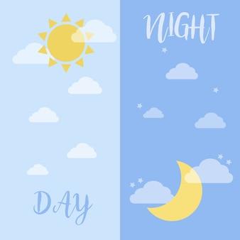 Icone di tempo di giorno e di notte, vettore di cartone animato