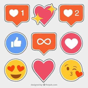 Icone disegnate a mano facebook adesivi