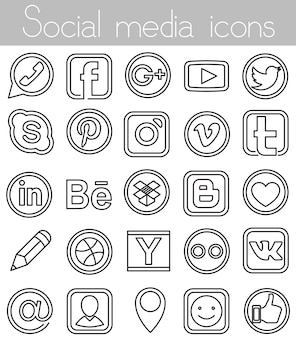 Icone lineari di social media
