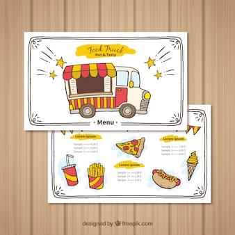 Il camion di alimento disegnato a mano andare con stile felice