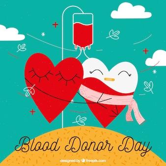 Il sangue del donatore del mondo di fondo giornata con due cuori