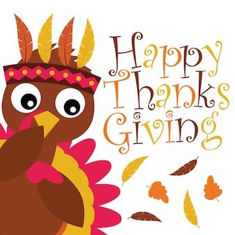 Illustrazione cartoon vettoriale con tacchino carino oltre foglie d'acero adatta per il design felice di ringraziamento di ringraziamento, tag di ringraziamento e carta da parati stampabile