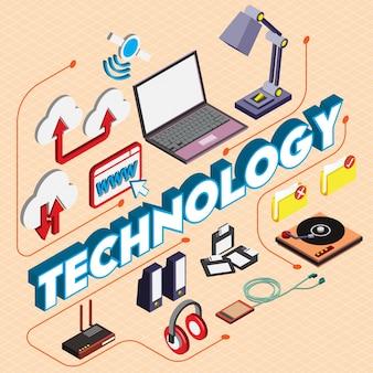 Illustrazione del concetto di tecnologia in grafica isometrica
