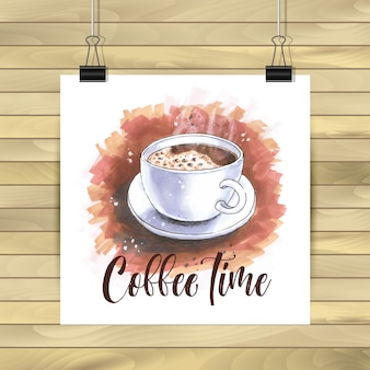 Illustrazione del tempo di caffè su sfondo di legno