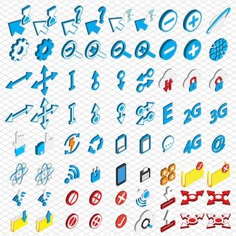 Illustrazione delle icone di connessione impostare concetto in grafica isometrica
