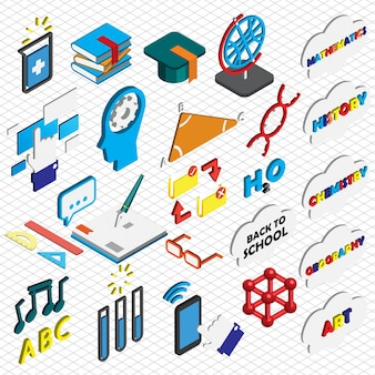 Illustrazione delle icone di educazione impostare il concetto in grafica isometrica