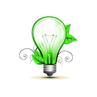 Illustrazione di arte di disegno della lampadina di eco di vettore