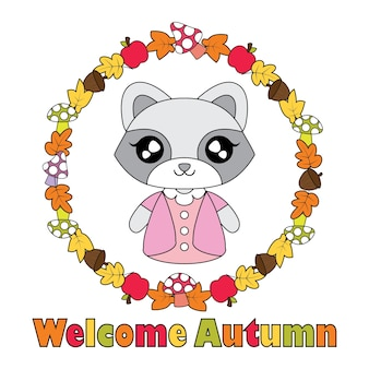 Illustrazione di cartoon vettoriale con ragazza cute raccoon su corona di oggetti di autunno adatto per autunno bambino t-shirt disegno grafico, sfondo e carta da parati