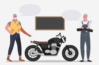 Illustrazione di disegno del personaggio dei cartoni animati. Biker in sella a una moto nel garage.