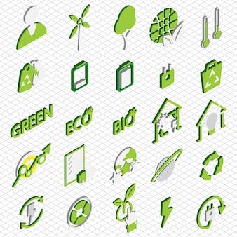 Illustrazione di icone eco impostare concetto in grafica isometrica