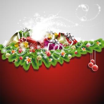 Illustrazione di Natale con scatole regalo su priorità bassa rossa
