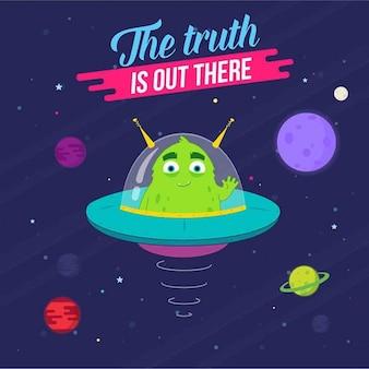 Illustrazione di un alieno extraterrestre viene fornito con la pace