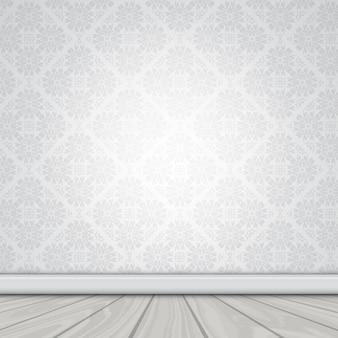 Illustrazione di un muro bianco con carta da parati damascati e pavimento in legno