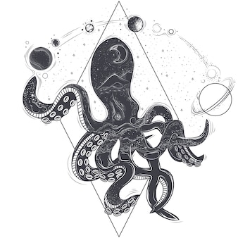 Illustrazione geometrica vettoriale di un polpo e pianeti cosmici