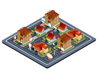 Illustrazione isometrica vettoriale quartiere residenziale