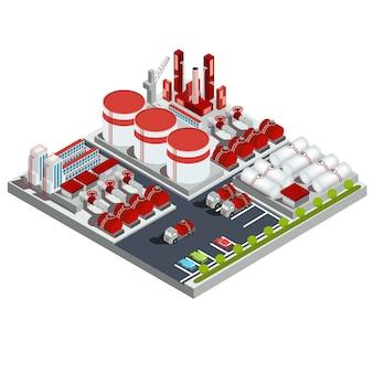 Illustrazione isometrica vettoriale raffineria di petrolio