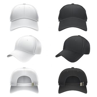 Illustrazione realistica vettoriale di un berretto da baseball in bianco e nero, davanti, dietro e laterale