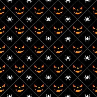 Illustrazione senza saldatura di Halloween con zucche facce spaventose e ragni su sfondo nero.