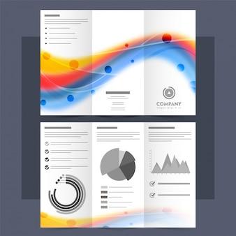 Illustrazione Tri-Fold creativa, Brochure con onde astratte.
