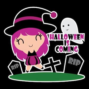 Illustrazione variopinta sveglia del fumetto delle ragazze delle streghe per il disegno del tag del regalo di Halloween, insieme dell'etichetta e disegno dell'insieme dell'autoadesivo del capretto
