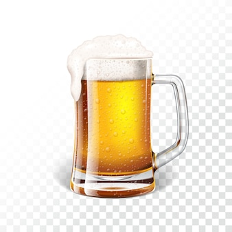 Illustrazione vettoriale con birra fresca lager in una tazza di birra su sfondo trasparente.
