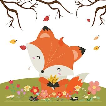Illustrazione vettoriale con cute volpe e elementi floreali, autunno