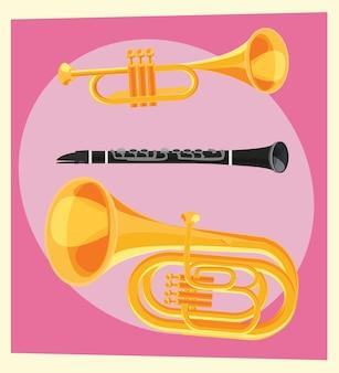 Illustrazione vettoriale di oggetti musicali per il design