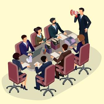 Illustrazione vettoriale di persone isometriche piane 3D. Il concetto di leader di business, lead manager, CEO.