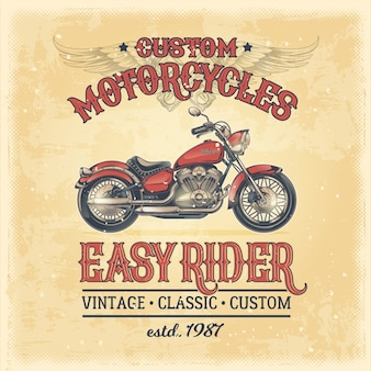 Illustrazione vettoriale di un manifesto d'epoca con una motocicletta personalizzata