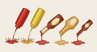 Illustrazione vettoriale di un set di stile di incisione di salse diverse sono versati da bottiglie