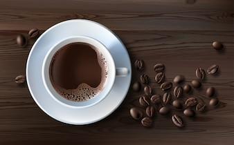 Illustrazione vettoriale di uno stile realistico di tazza di caffè bianco con un piattino e chicchi di caffè, vista superiore